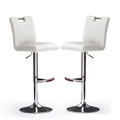Casta Bar Stools In White Faux Leather in A Pair  sc 1 st  Pinterest & BERNHARD Bar stool with backrest chrome plated Kavat dark yellow ... islam-shia.org