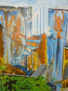 """""""Die Treppe zum Himmel"""" Künstler: DieterLinde Acryl und Öl auf Leinwand 90 cm x 120 cm  #dieterlinde #malerei #acryl #oel #crelala"""