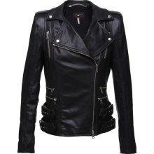 Women's Black Biker Leather Jacket (178)