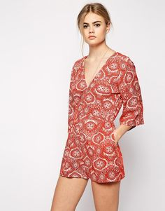 a9c6f9f70133 Image 1 of Motel Valeria Kimono Sleeve Playsuit In Terracotta Tile Print Romper  Outfit