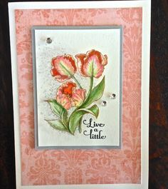 Celebrating spring with tulips and sentiment from Power Poppy, coloured with Prismacolor pencils.