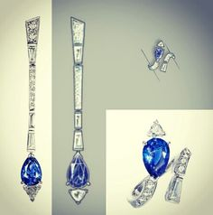 Boucheron drawing for Haute Joaillerie sapphire set