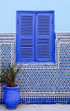 Bold blue shutters and a cobalt/white tile dado are topped with aqua blue stucco.