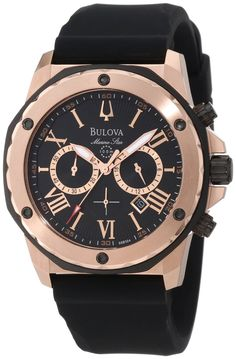 This men's Bulova Marine Star watch has a round black dial with date display, three chronograph sub-dials, and Roman numeral markers in a rose-. - Men& Bulova Marine Star Chronograph Rose-Tone Strap Watch with Black Dial (Model: Audemars Piguet, Sport Watches, Cool Watches, Men's Watches, Wrist Watches, Male Watches, Black Watches, Ladies Watches, Fossil Watches