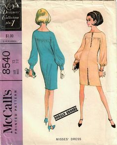 1960s McCall's 8540 Vintage Sewing Pattern Misses Boutique