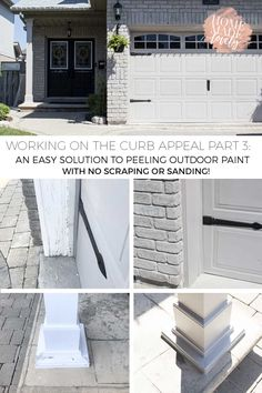 Older homes can have a lot of peeling paint if the wood trim has been exposed to the elements. Here's an easy solution to peeling outdoor paint! Painting Trim, House Painting, Painting Walls, Diy Painting, Porch Wood, Wood Garage Doors, House Trim, Peeling Paint, Diy Home Repair