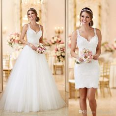 Custom Made 2016 Lace Tulle Spaghetti Straps Zipper See Through Back 2 In 1 Wedding Dresses DetachableRemovable SkirtTrain Plus Size Bridal Gowns Romantic Wedding Dresses From Officesupply, $155.36| Dhgate.Com