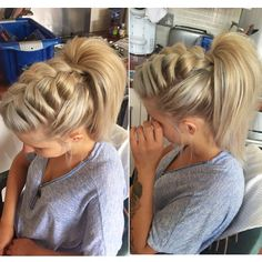 Braid with high pony tail