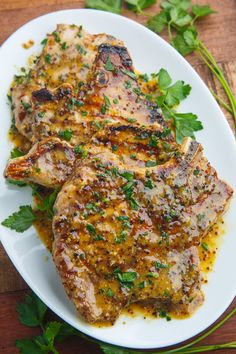 Honey Mustard Grilled Pork Chops. How amazing would these be for a small dinner party?!?