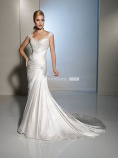Graceful Mermaid Satin Straps empire Beaded Wedding Dress picture 1
