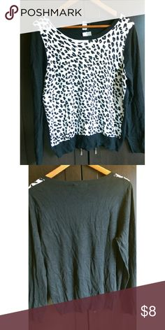 NWT George UK leopard print crew neck New with tags, US sized 18, black and white leopard print, long sleeved, crew neck sweater. Back side is solid black. George Sweaters Crew & Scoop Necks