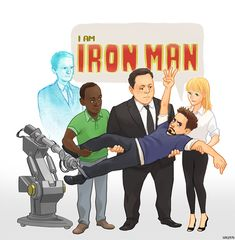 Tony Stark is supported by a pretty devoted team. (Team Iron Man: Dum-E, Jarvis, Rhodey, Happy & Pepper)