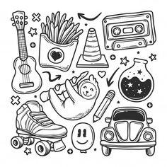 Kawaii Doodles, Cute Doodles, Doodles How To, Doodle Tattoo, Doodle Drawings, Doodles Bonitos, Stickers Kawaii, Graffiti Doodles, Doodle Art Designs