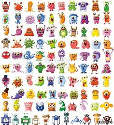 Large vector set of drawings of different characters isolated monsters, robots…