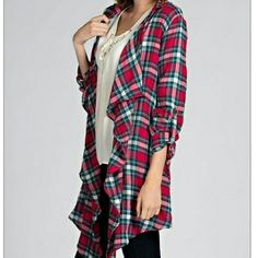 2x HPPlaid Cardigan Red plaid waterfall cardigan with back lace trim. Pair with skinny jeans or leggings and boots--perfect for fall!    65% Cotton & 35% Polyester. Fit is true to size    NWT-Retail-Never been worn or tried on!   Price is firm unless bundled  Like more than one item? Ask me about bundling! Available in S and M  HOST PICK 1/3/2016-STYLE OBSESSIONS Boutique  Sweaters Cardigans