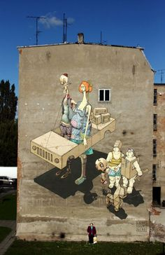 'Never Ending Story' mural on the streets of Szczecin, Poland. Collaboration between street artists Lump, Chazme and Polish duo Sepe.