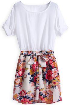 Robe avec jupe contrastée à motif fleurs et ornée de nœud -Blanc  EUR€16.07