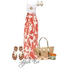 Corals abound in this fun maxi skirt.