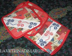 OVEN GLOVE EMBROIDERED CROSS STITCH