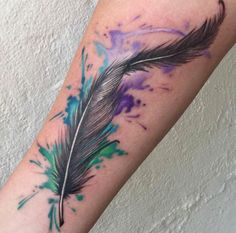 Watercolor Feather Tattoo by Billy