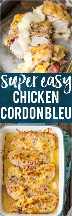 This EASY CHICKEN CORDON BLEU is my favorite recipe for entertaining a crowd. Layers of chicken, ham, cheese, bread crumbs, and delicious white wine dijon sauce. There's no reason to make the fussy version when you have this simple recipe that's just as delicious. #chicken #ham #cheese #wine #baked via @beckygallhardin