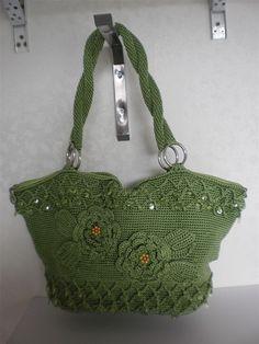 Handmade wool crochet hook handbag hobo women green by Buzaitingle, $73.00