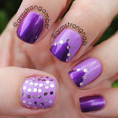 Purple monochromatic nails art with glitter placement. by Amber Armstrong -- Instagram@armstrongnails