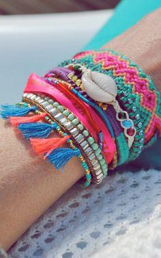 Layered friendship bracelets