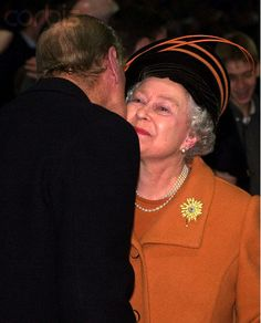 Queen Elizabeth and Prince Philip Kiss on Millennium Day