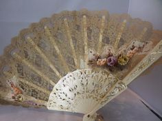 Lace ladies fan,flower design, ecru colour lace, plastic spines, sequins on lace, ideal stage prop, vintage wedding,  18 inches across,
