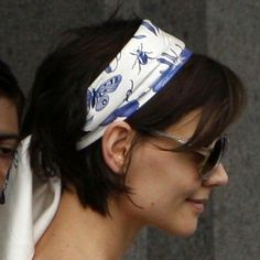 Katie Holmes bob from side with head scarf