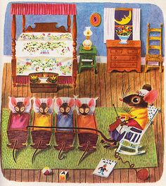 "Mouse's House - written by Kathryn and Byron Jackson, illustrated by Richard Scarry (1949)  (I like the fact that they're reading a book called ""Mickey Man"".)"