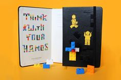 Moleskine notebooks with Lego theme:) They are fantastic and they remind me all those hours I spent with Lego when I was a kid:) I will definetly try to get one of these.  Source: http://boingboing.net/2012/01/27/lego-moleskine-notebooks.html