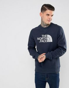 f61fff1b19 The North Face Drewpeak Crew Neck Sweatshirt Chest Logo in Navy - Navy  Men s Sweatshirts