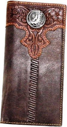 Western Coffee Rodeo Wallet with Boots Concho Made of genuine handtooled leather, this rodeo wallet has: - Upper center floral tooling design - A pewter boots - An open pocket on the back - Pockets on the inside for ID, credit cards, cash, and more x x Custom Wallets, Long Wallet, Rodeo, Pewter, Leather Wallet, Westerns, Lorraine, Coffee, Credit Cards