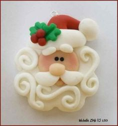 NEW Polymer Clay Swirly Beard Santa