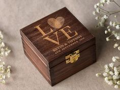 Wood Wedding Ring Bearer Box, Fingerprint Box Rustic Wooden Ring Box ,  Engraved  Bride and groom names on Etsy, $35.00