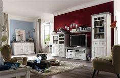 Wohnwand Mit Sideboard Kiefer Massiv Weiss / White Sanded Woody 41 00780  Mca Furniture
