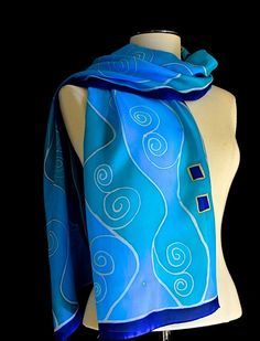 Silk scarf hand painted Art Nouveau design by FantasticPheasant, $45.00