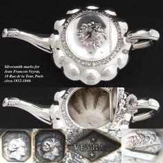 "RARE Antique French Sterling Silver Teapot, Pumpkin Shaped 11.5"" Tea Pot"