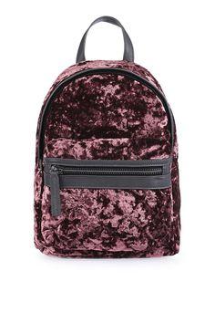 Dark pink crushed velvet backpack