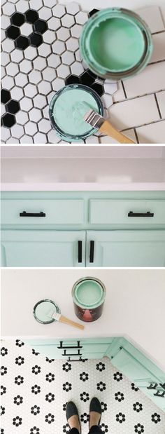Tie in the classic tile and backsplash of your kitchen with a retro, vintage paint color for the cabinets. Blogger Be Crafty uses Mirador to add that extra pop of aqua in her room design.