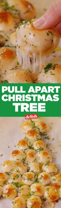 """Pull-Apart Christmas Tree Pull-Apart Christmas Tree Oh cheesy tree, oh cheesy tree!"""", """"name"""": """"Pull-Apart Christmas Tree"""", """"authors"""": []},. Christmas Tree Food, Christmas Eve Dinner, Xmas Food, Christmas Cooking, Monkey Bread, Appetizer Recipes, Dinner Recipes, Dinner Dishes, Main Dishes"""