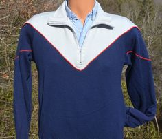 70s vintage sweatshirt HENLEY pullover zip piping by skippyhaha