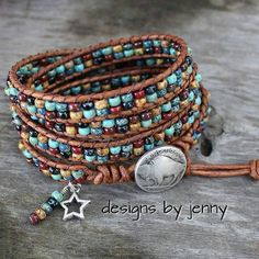 Beaded Leather Wrap Bracelet, Beaded Leather Bracelet, Seed Bead Leather Wrap Bracelet, Bohemian Jewelry, Boho Style, Turquoise Beads by hodgepodgecandles on Etsy