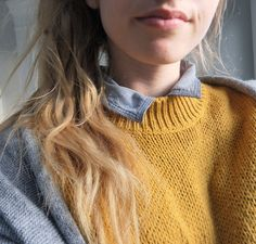 Layers: chambray, collared shirt, mustard, crew neck, sweater, light blue, long, cardigan | Posted by beanleaf | Pinned via Her New Tribe