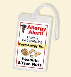 Peanut Tree Nut Allergy Alert Bag Tag - Laminated Luggage Tag - School Bag Tags
