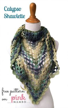 Crochet Colorful Calypso Shawlette By: Carolyn Christmas from pinkmambo