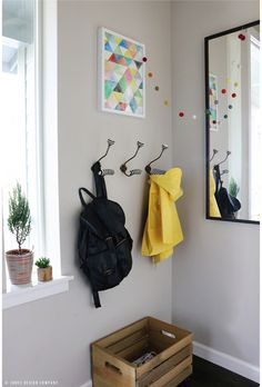 I love just about everything for this small entryway.  I especially love the hooks and the shoe crate!   OH, HI! (ENTRY REVEAL + ROLLING WOOD CRATE DIY)