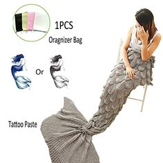Amazing Mermaid Tail Blanket By ACRIMAX - Comfortable & Soft Design, Unique Fish Scale Knit Pattern, Eco-Friendly & Hypoallergenic Material, Large & Warm Snuggle Companion, Breath-Taking Gift Idea